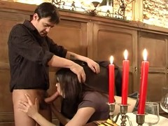 Young sexy bombshell wanted to organize a romantic dinner with the candlelight but it turns into hot fucking