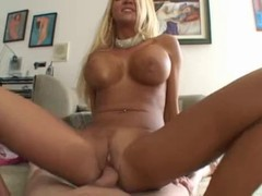 Glamorous blonde in shiny pink pants allows this lucky man to penetrate her fabulous ass