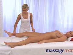 Slender babe with perfect figure enjoys this oiled massage by blonde masseuse