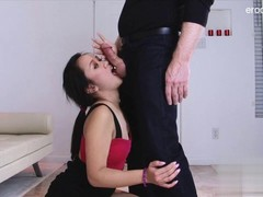 Asian girlfriend takes cock really deep in the throat