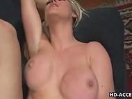 Naughty babe with big boobs likes to ride a strong dick and to get it deeply in her throat