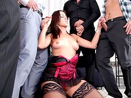 World crisis is enforcing the slutty MILF in nylons to get her holes hammered during the foursome action