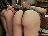 Busty teacher and her delightful pet were roughly punished by their principal in his cabinet