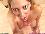 Experienced MILF with big boobs shows her best in blowjob techniques