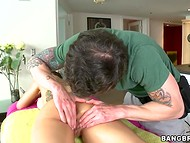 Tattooed couple is having some nice anal sex after gentle massage and blowjob