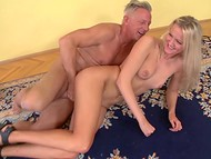 Old man got a second wind and fucked young babe's anal hole on the floor in spacious room