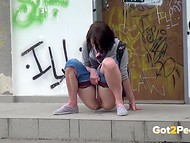 Curious cameraguy films shameless females, who get naked and piss in the public places
