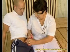 Old woman can\'t resist his throbbing young dick