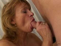Granny with saggy tits and hairy twat loves sex with young boys